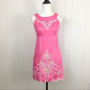 Lilly Pulitzer Pink Yellow Embroidered Mini Dress